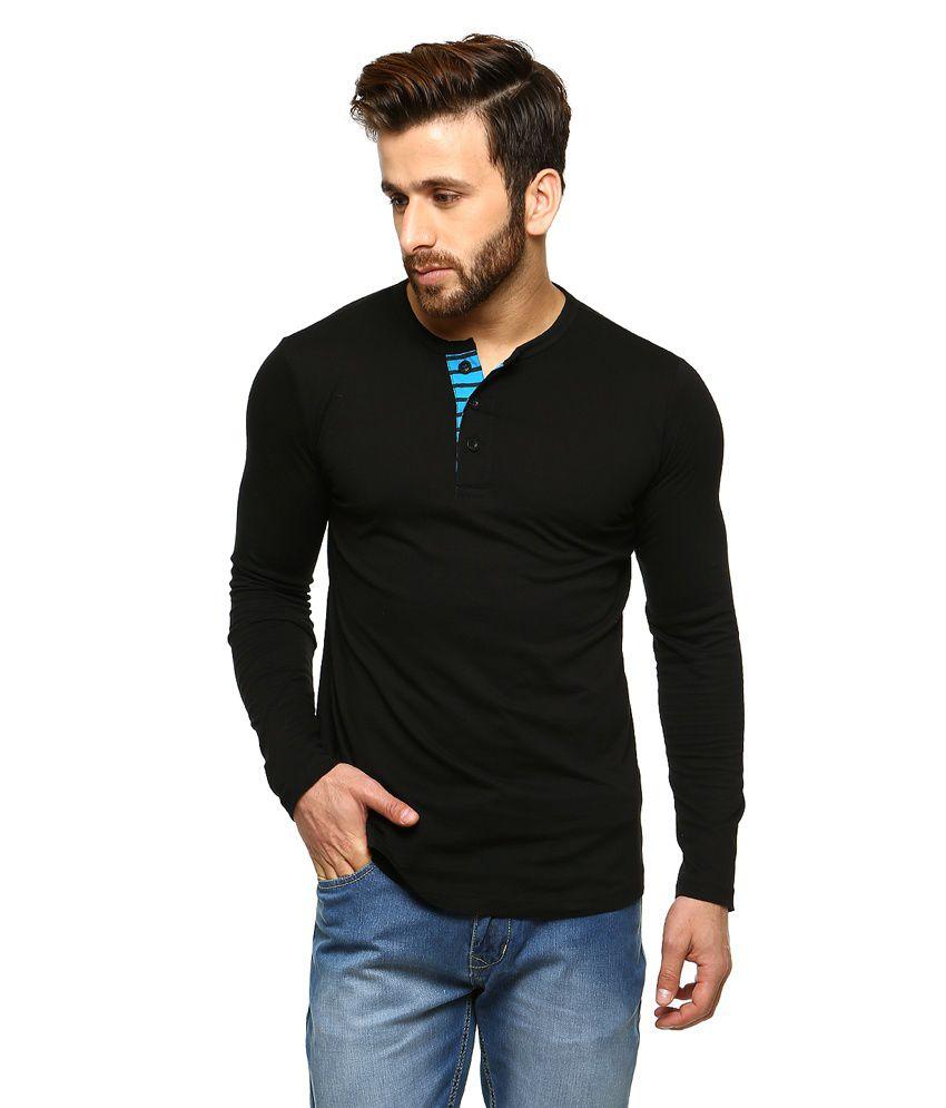 Gritstones Black Full Sleeves Basic Polo T Shirt