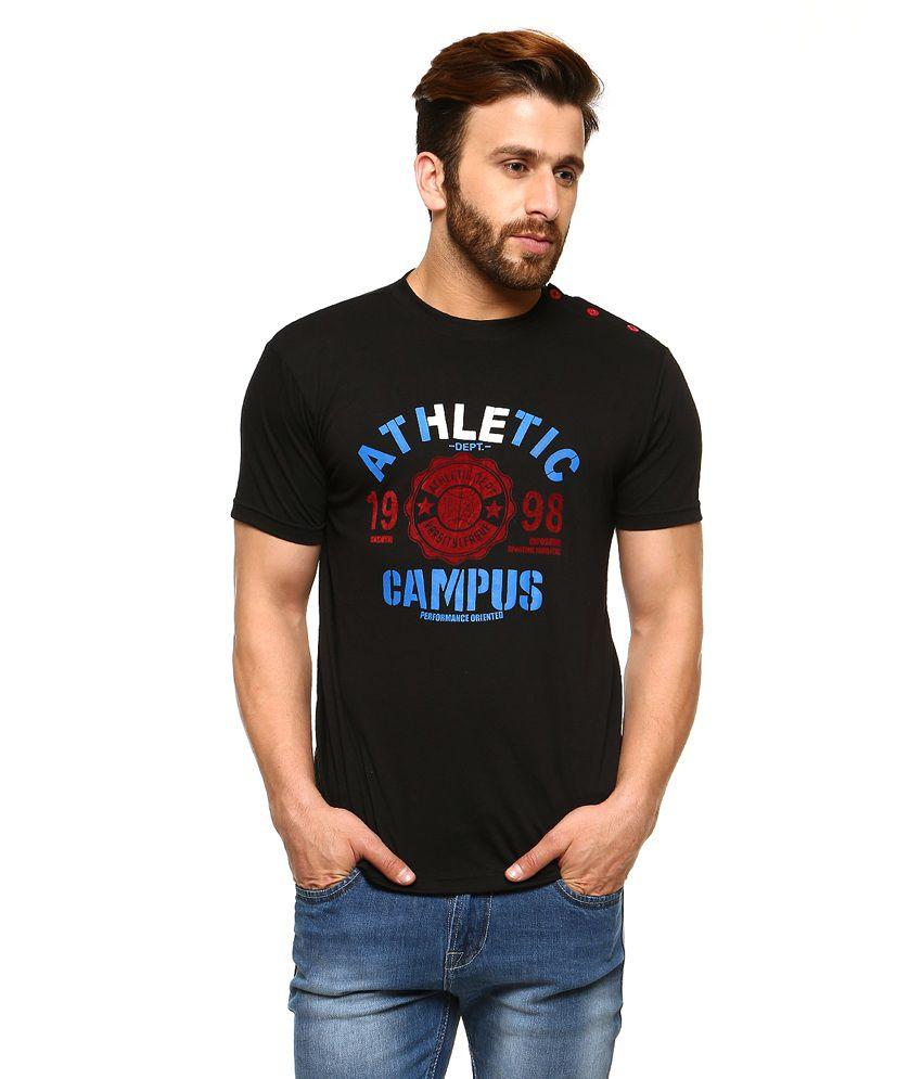 Gritstones Black Half Sleeves Basic Polo T Shirt