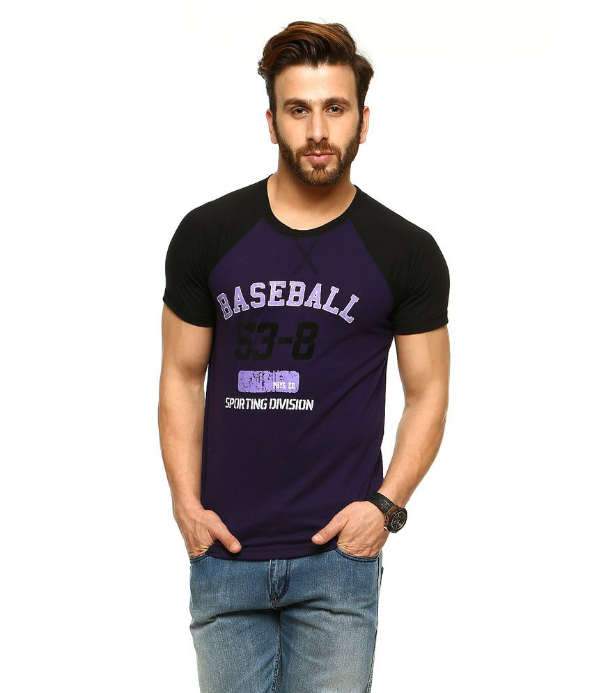 Gritstones Purple Half Sleeves Basic Polo T Shirt