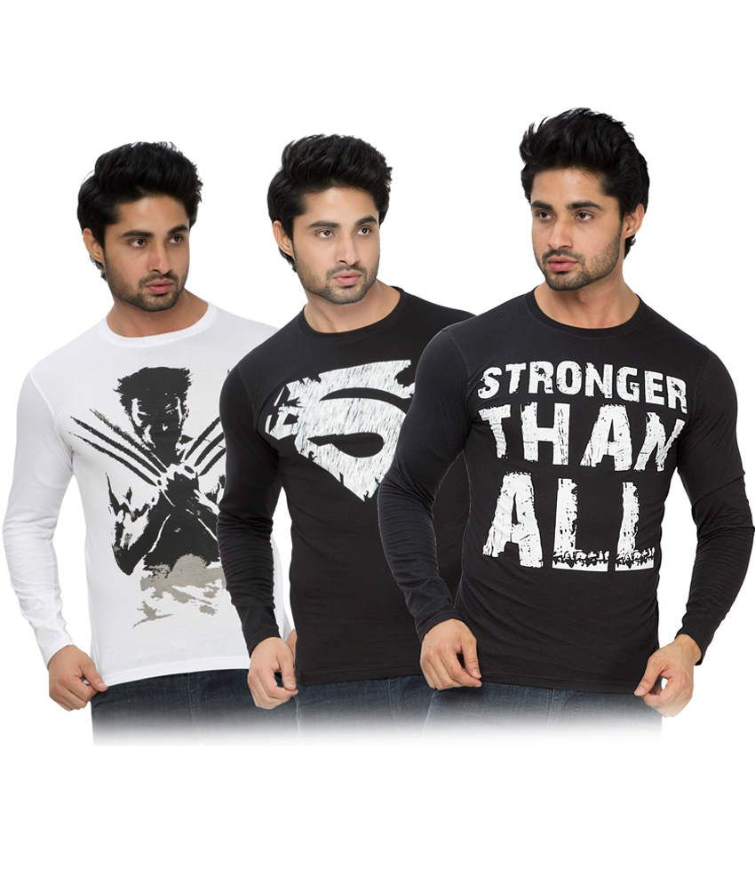 Alan Jones Printed Black White Full Tshirt-Pack Of 3