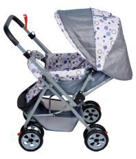 Happy Kids Stroller with Reversible Handle (Grey)