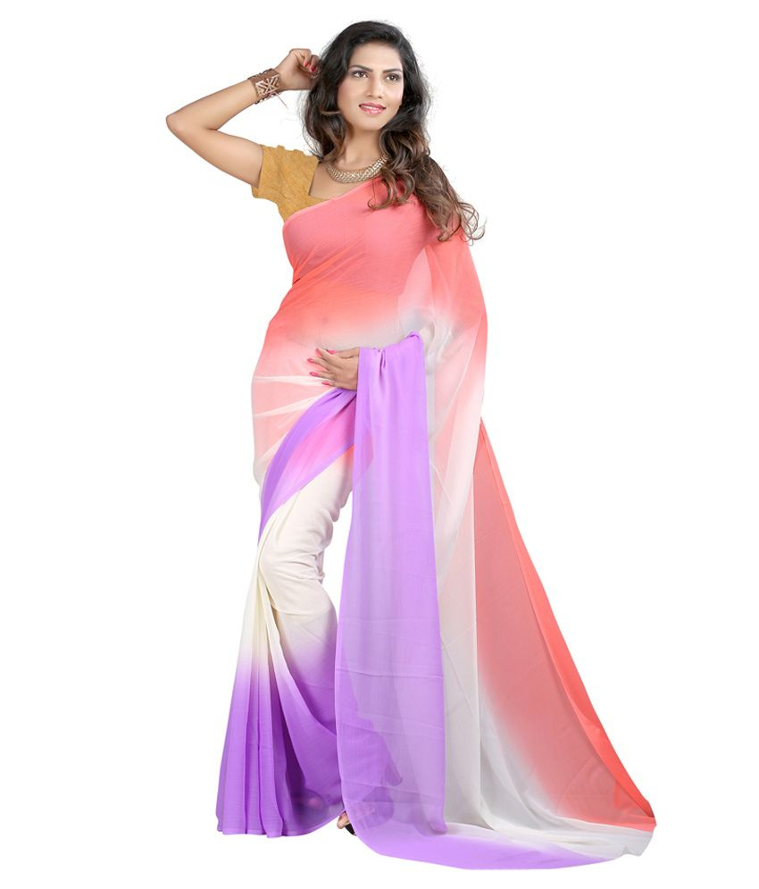 Brahmi Fashion Pink Semi Chiffon Saree