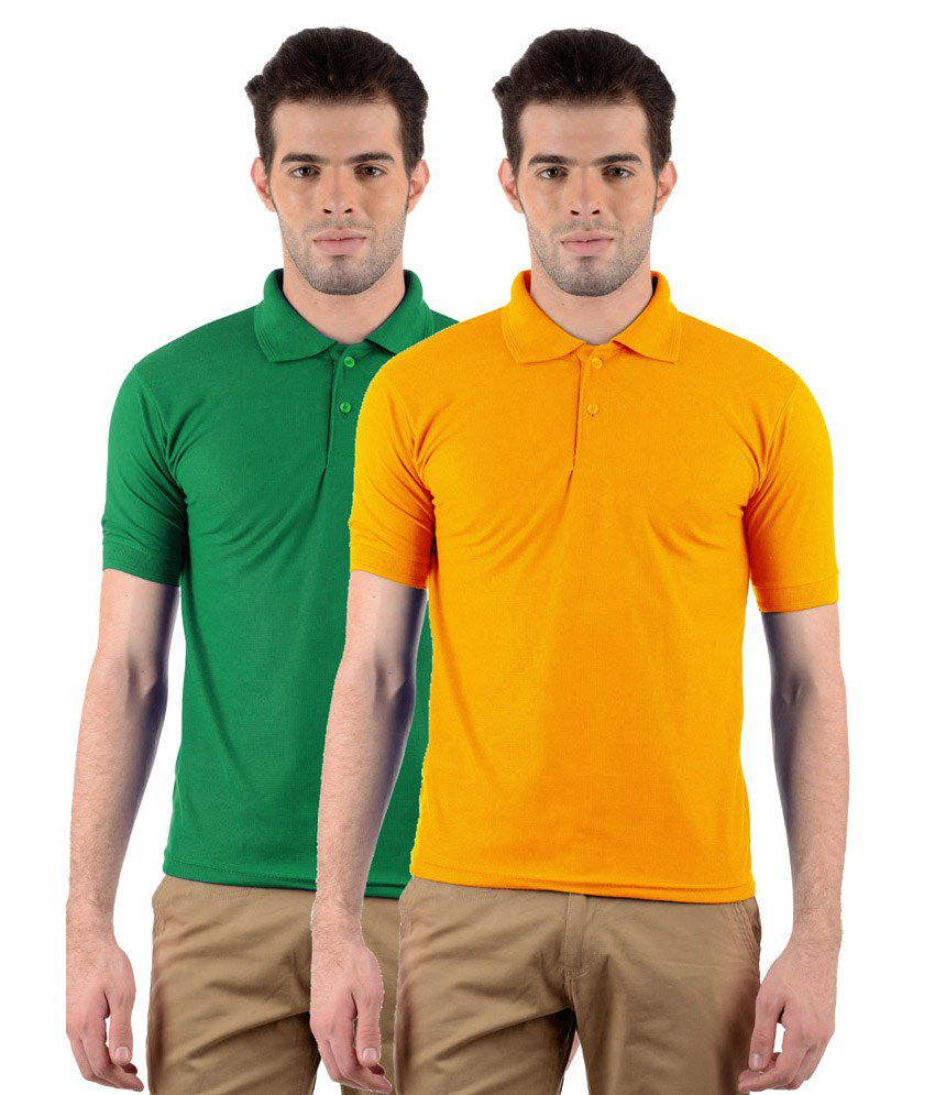 GDivine Golden Yellow, Green Men's Polo Tshirts Pack of 2