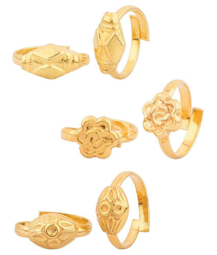 Voylla Golden Alloy Toe Ring Combo Of 3