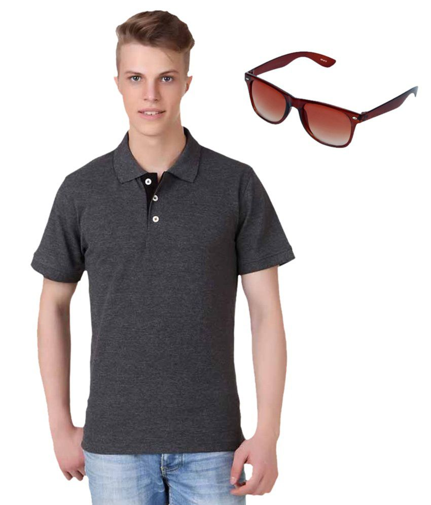 Kvell Be Proud Combo Of Grey Half Polo T-Shirt And Aviator Sunglasses
