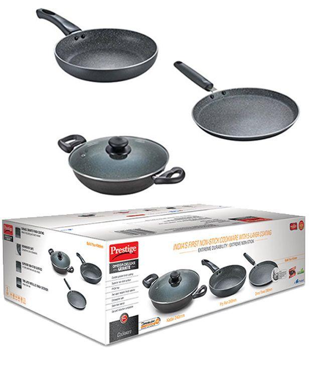 Non Stick Kitchen Set With Price: Prestige Black Non-stick Coating Cookware