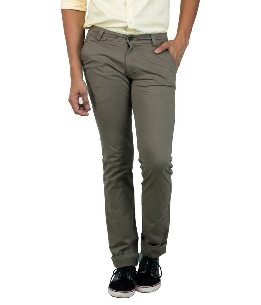 S2S Grey Slim Fit Casual Chinos