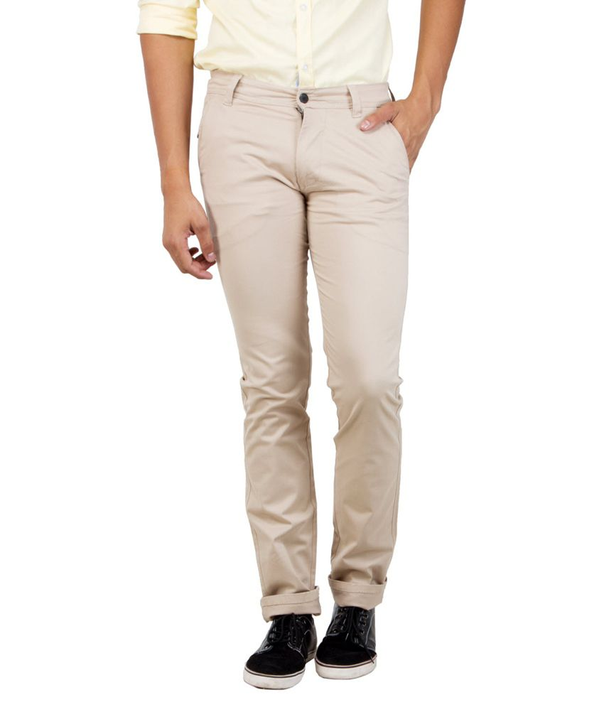 S2S White Slim Fit Casual Chinos