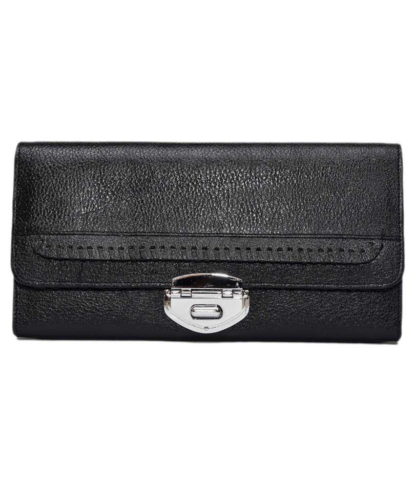 Mlc Black Leather Regular Wallet For Women