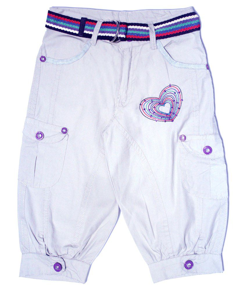 N-xt Girls White Cotton Capri