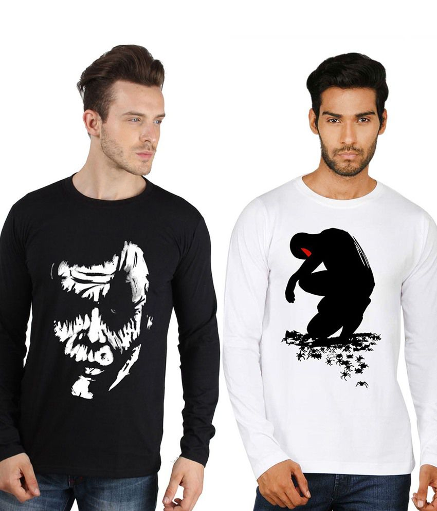 73a9fb18907a Sayitloud Black and White Full Sleeve Round Neck T-shirt - Pack of 2 ...