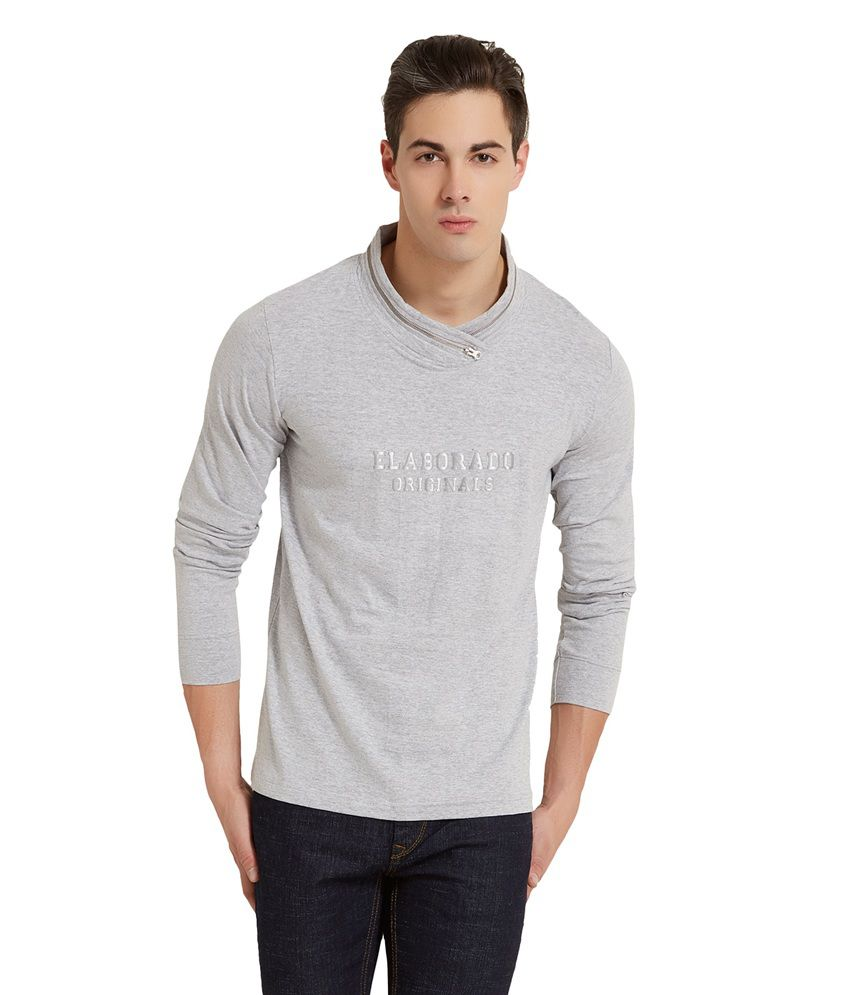 Elaborado Grey Cotton Full Sleeves T Shirt