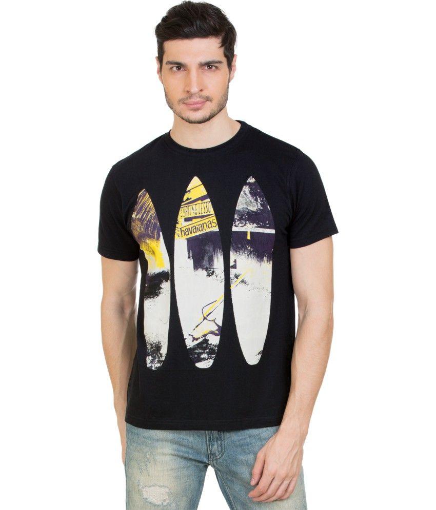 Zovi Black Cotton Round Neck T-shirt