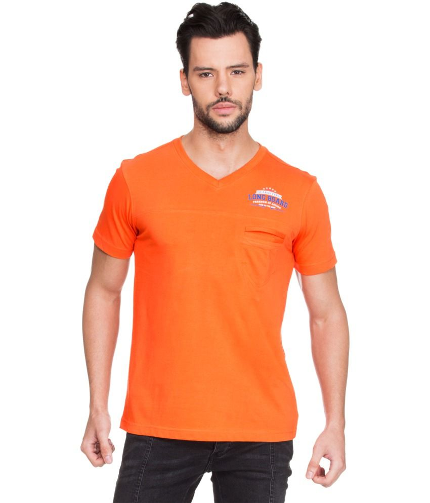 Zovi Orange Cotton V-Neck T-shirt