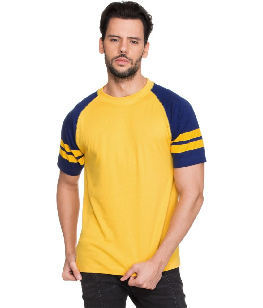 Zovi Yellow Cotton Round Neck T-shirt