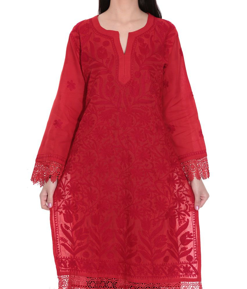 8961ff6565 ... Indian Handicraft Standards Red Lucknowi Chikan Cotton Hand Embroidered  Kurti