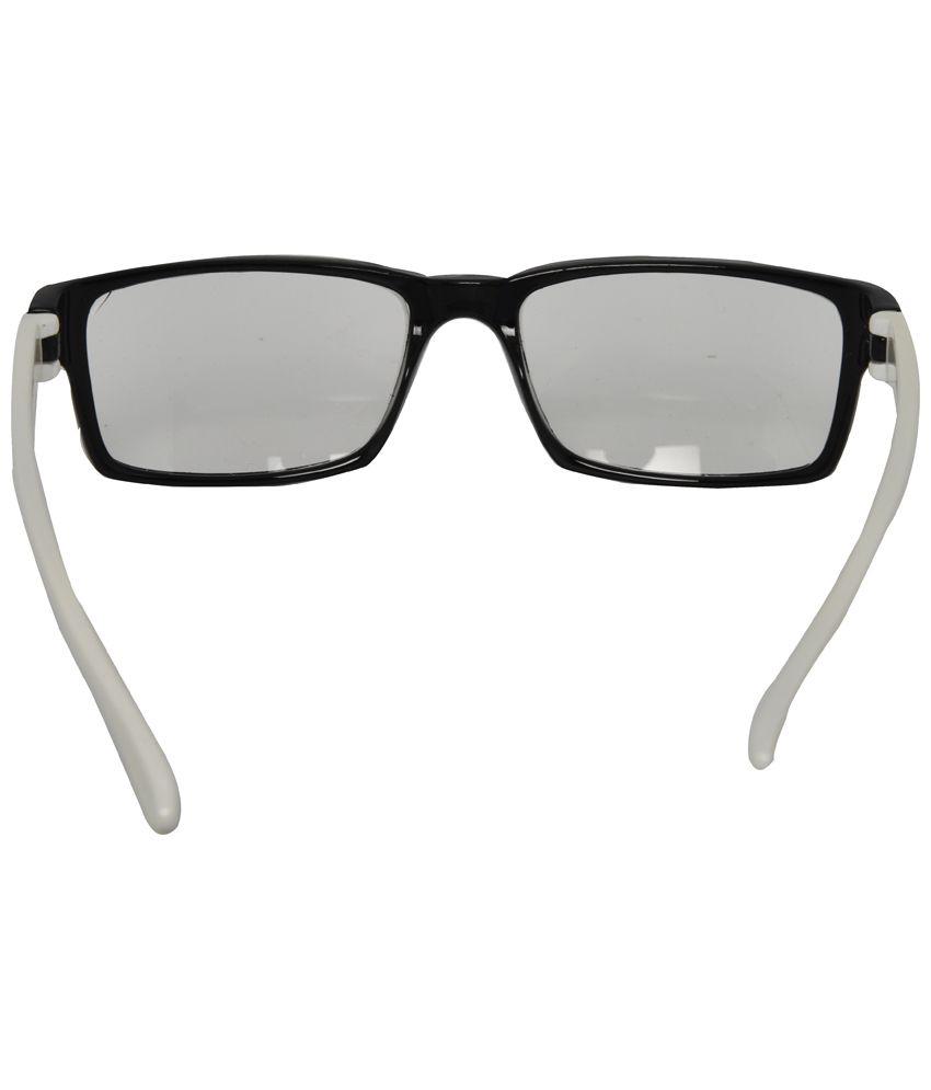 mall4all black amp white rectangular eyeglass frame for men