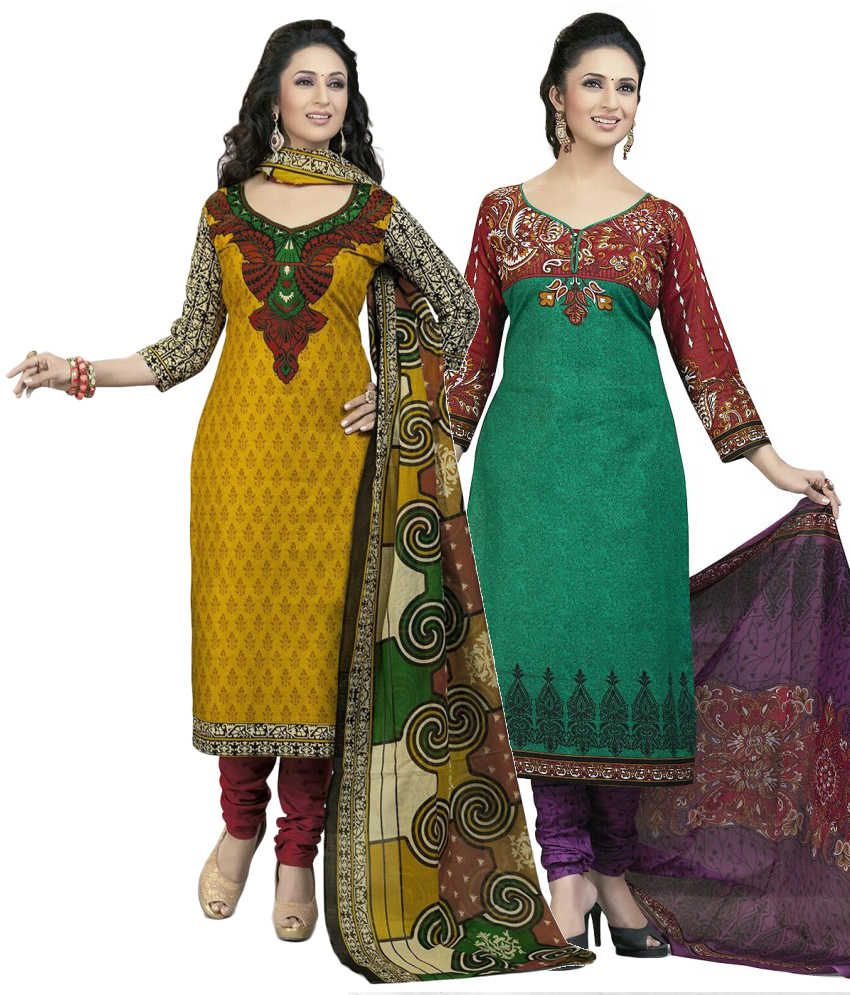 Mega Cotton Combo of Yellow and Green Cotton Unstitched Dress Materials (Set of 2)