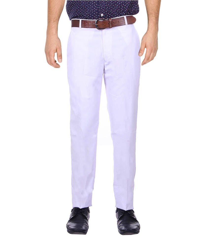 Srtc White Cotton Blend Formal Trouser
