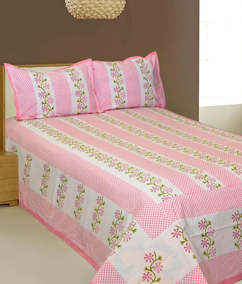 aj home pink cotton double bed sheet with 2 pillow cover buy aj home pink cotton double bed. Black Bedroom Furniture Sets. Home Design Ideas