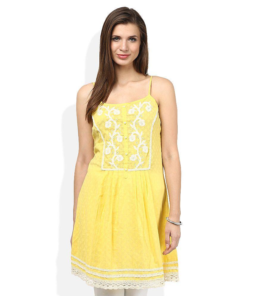Gili Yellow Cotton A-line Kurti
