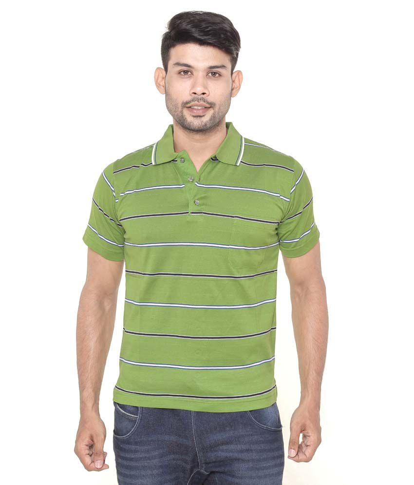 Gleneagles green half sleeve striper polo t shirt buy for Full sleeve polo t shirts