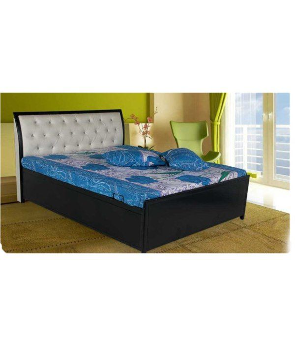 Queen Size Hydraulic Storage Bed With Leatherette Head Rest Free Foam Mattress Buy Queen
