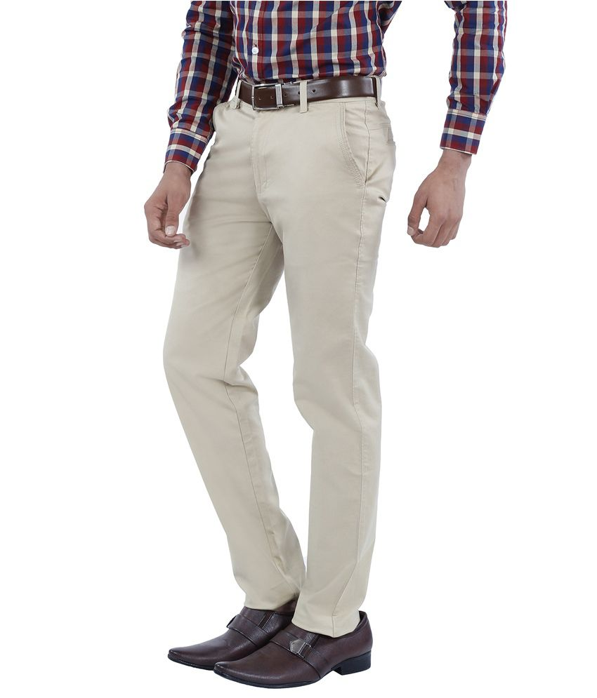 Canoe Off-white Slim Fit Formal Flat Trousers