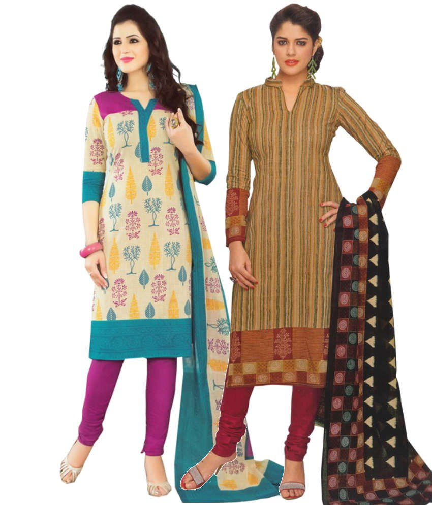 Divi Combo of Beige and Brown Cotton Unstitched Dress Materials (Set of 2)