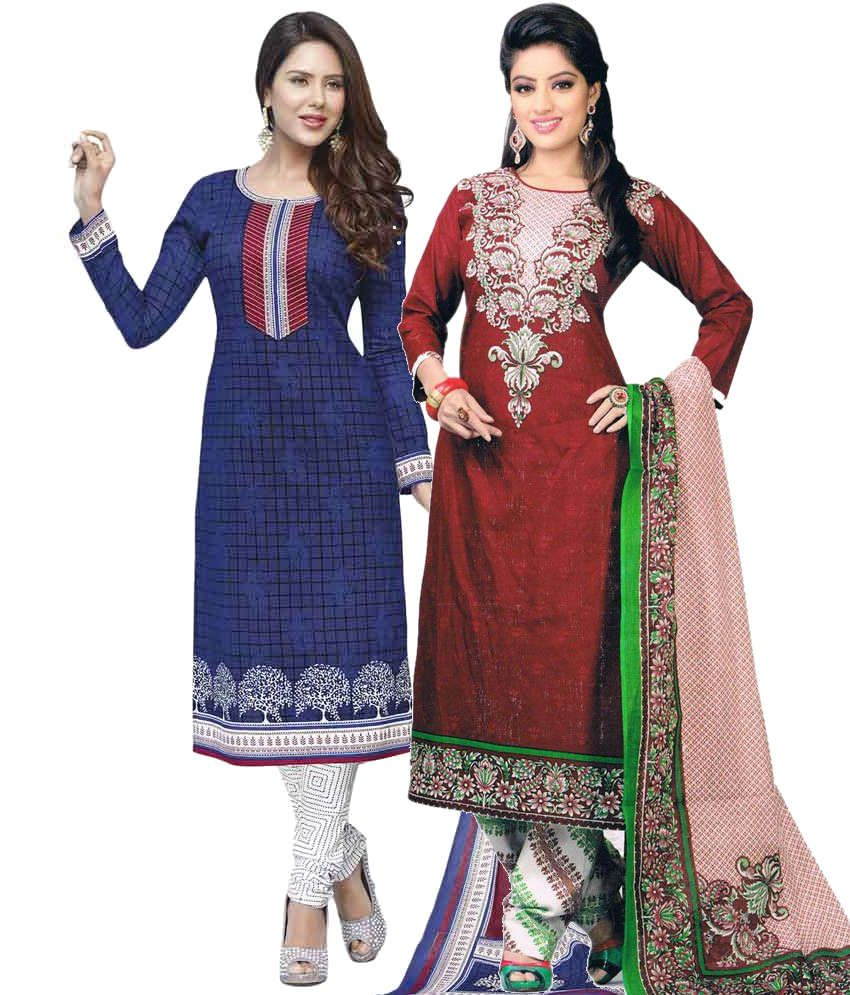 Javuli Combo of Blue and Red  Unstitched Dress Materials Set Of 2
