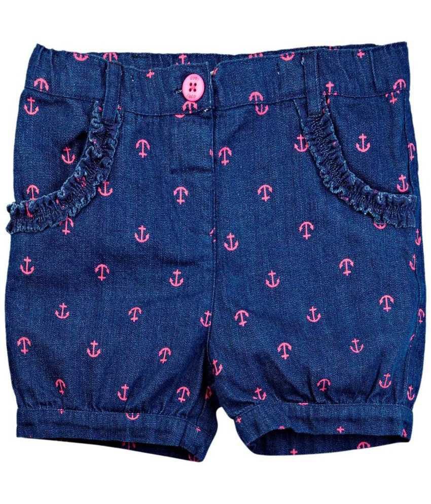 Oyez Blue and Pink Denim Shorts