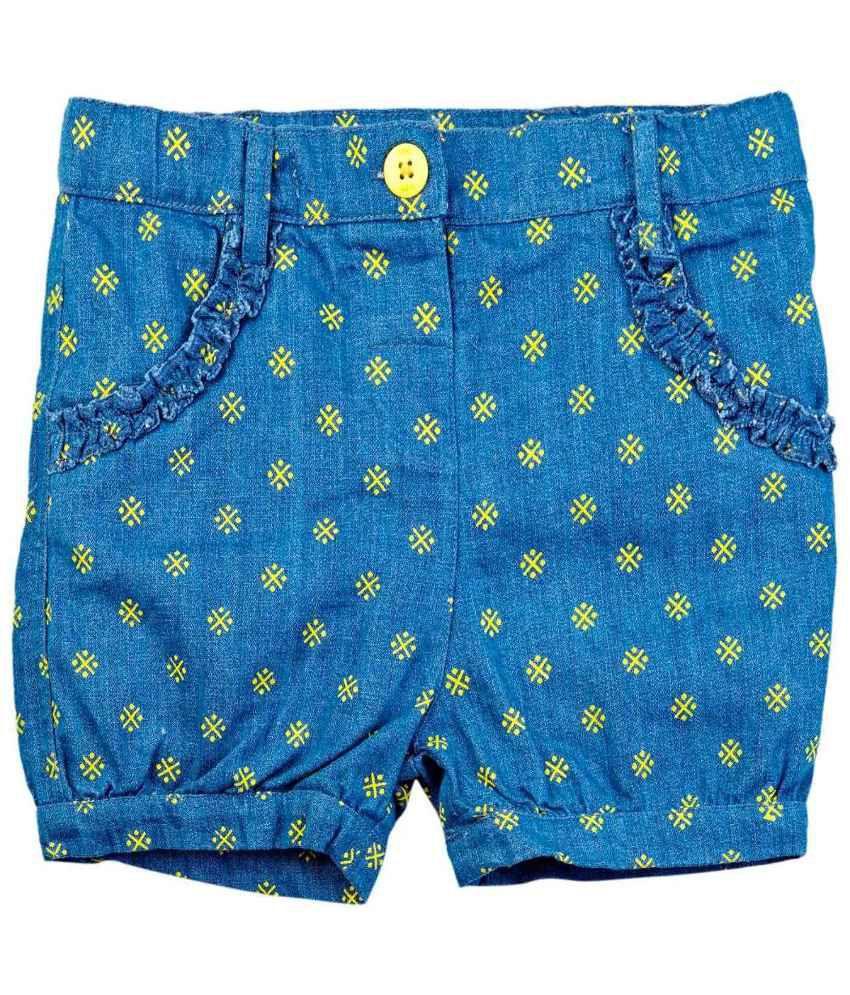 Oyez Blue and Yellow Denim Shorts