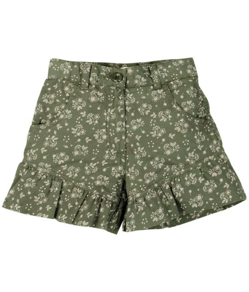 Oyez Green Cotton Shorts