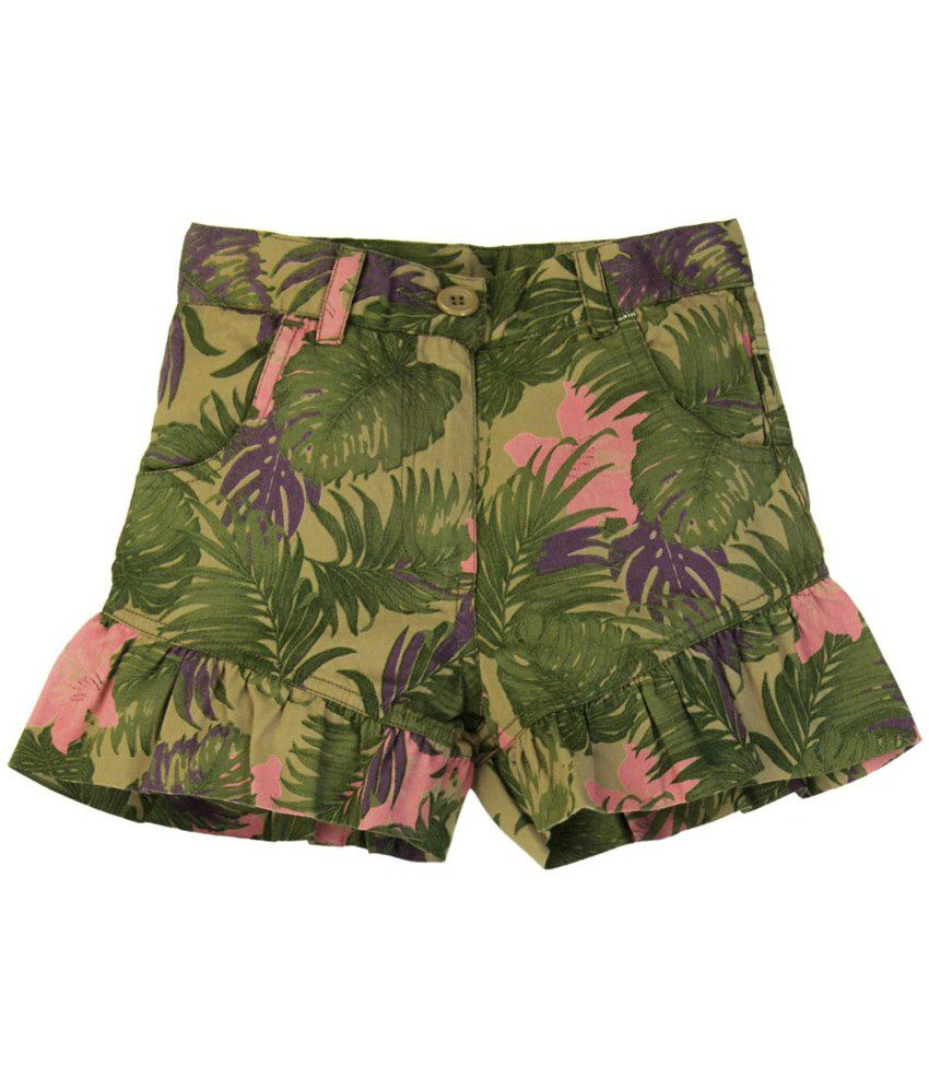Oyez Green and Pink Cotton Shorts