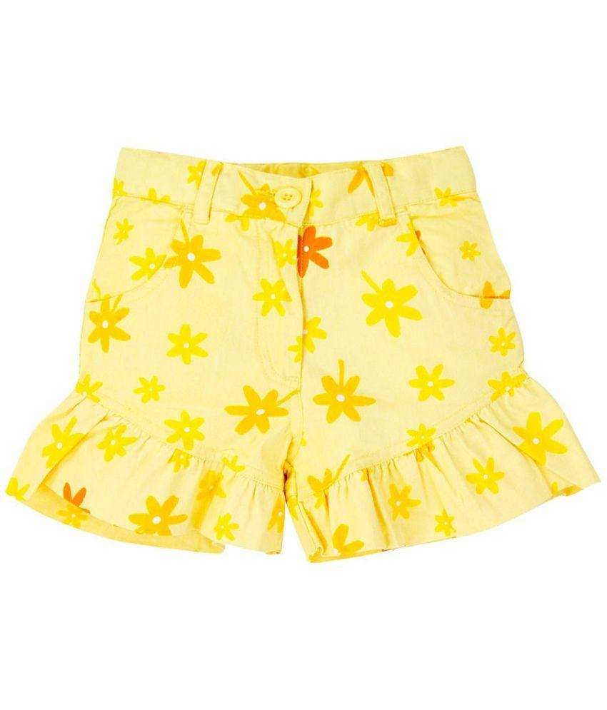 Oyez Yellow Cotton Shorts