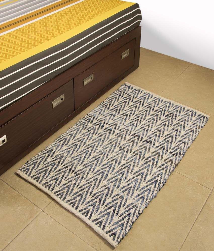PO BOX Blue Cotton Floor Mat (68 x 112 cm)