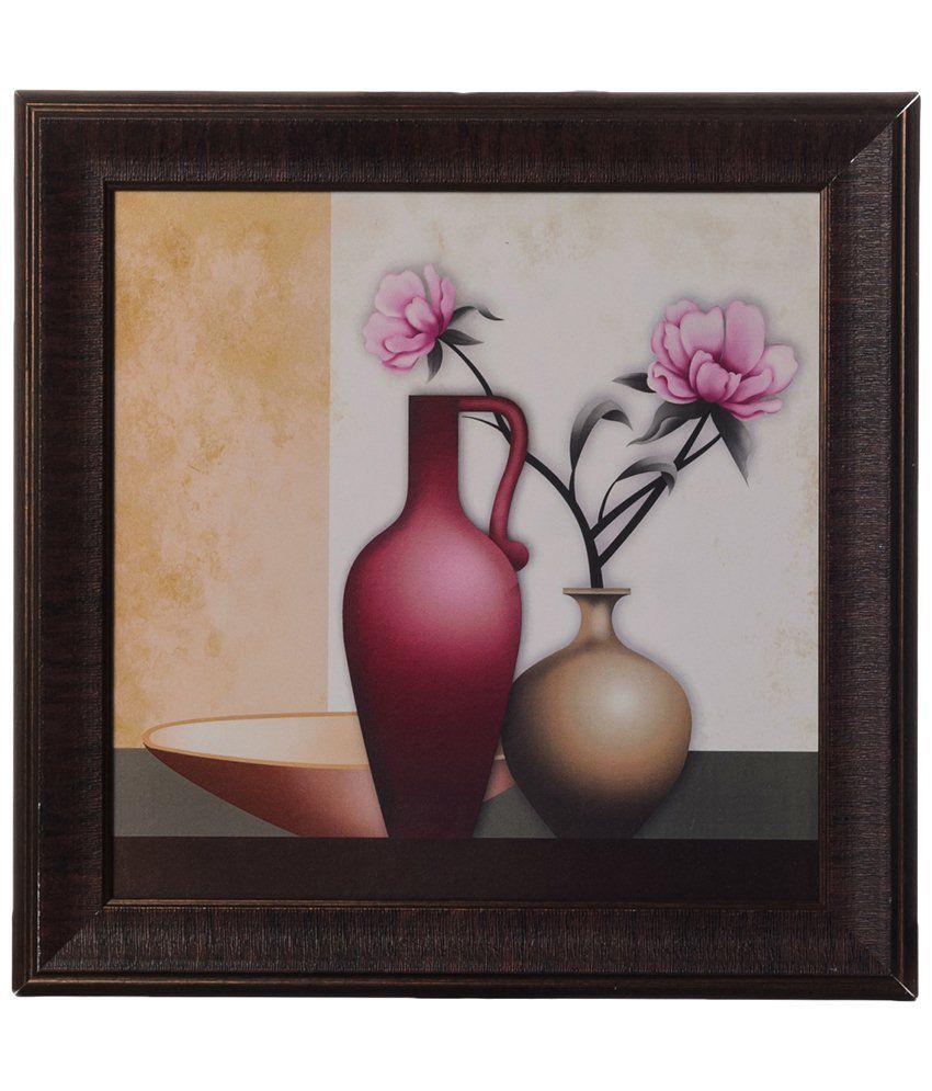 eCraftIndia Beige & Pink Floral Pot Satin Framed UV Art Print Painting