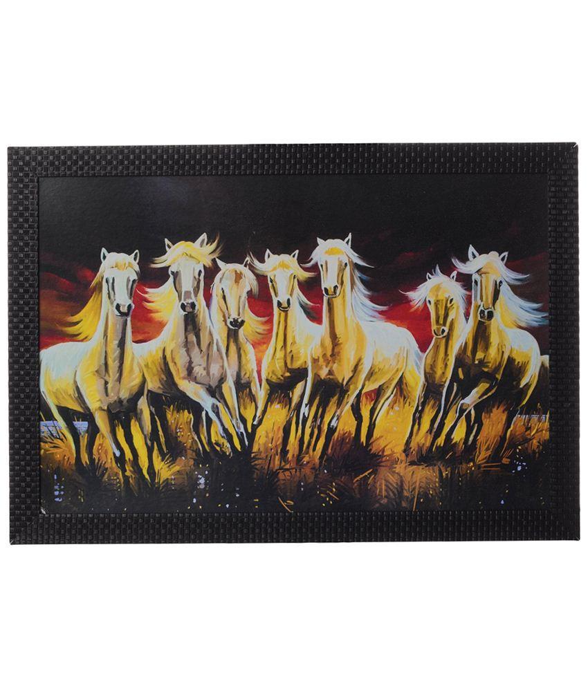 eCraftIndia Golden & Black Running Horses Satin Framed UV Art Print Painting