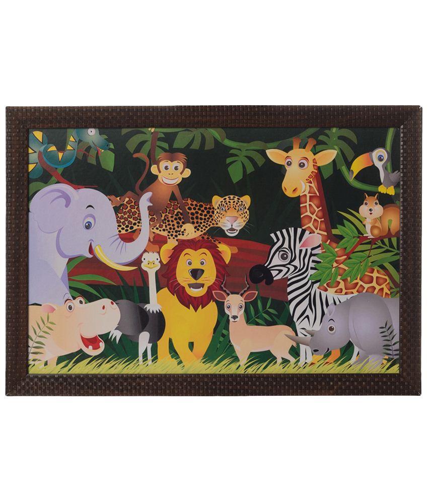 eCraftIndia Multicoloured Happy Jungle Animals Satin Framed UV Art Print Painting