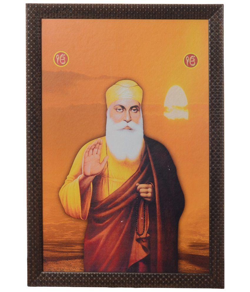 eCraftIndia Orange & Yellow Gurunanak Satin Framed UV Art Print Painting
