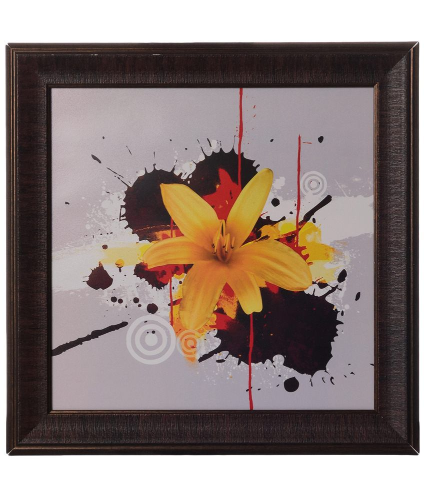 eCraftIndia White & Yellow Floral Satin Framed UV Art Print Painting