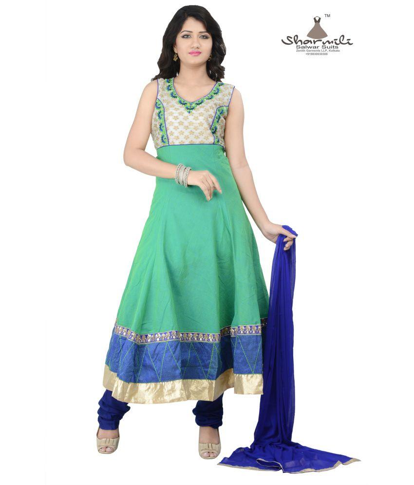 Sharmili Green Cotton Stitched Suit