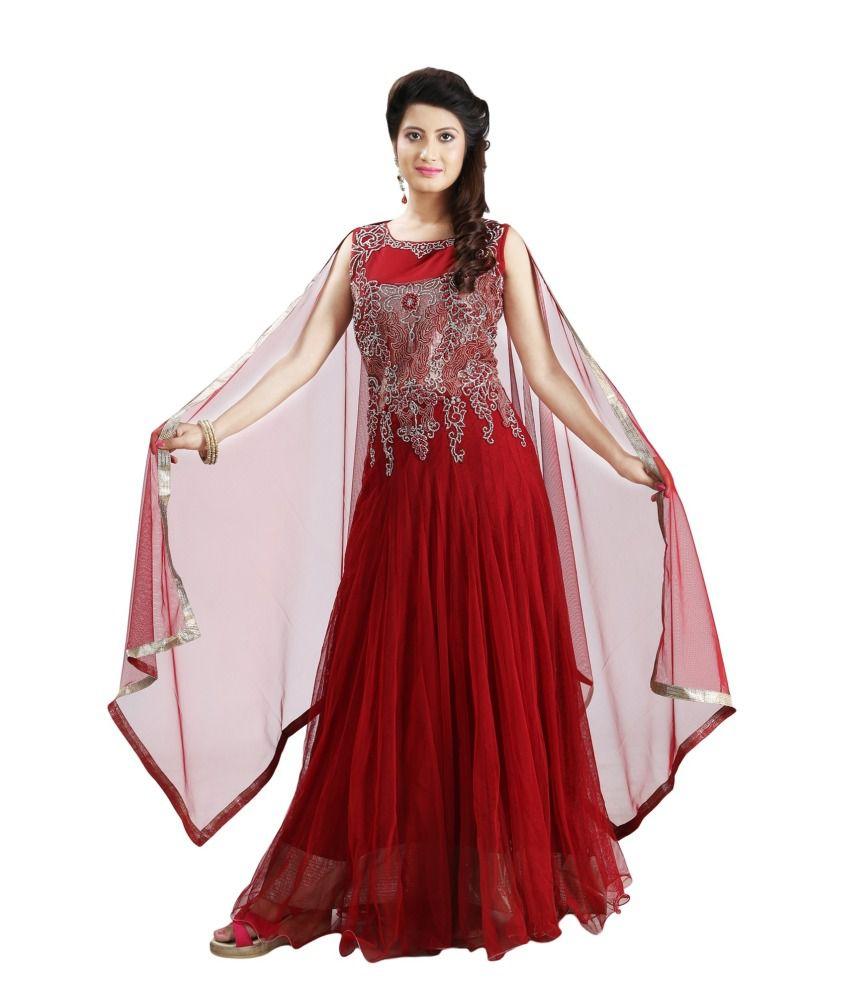 Sharmili Red Net Stitched Suit