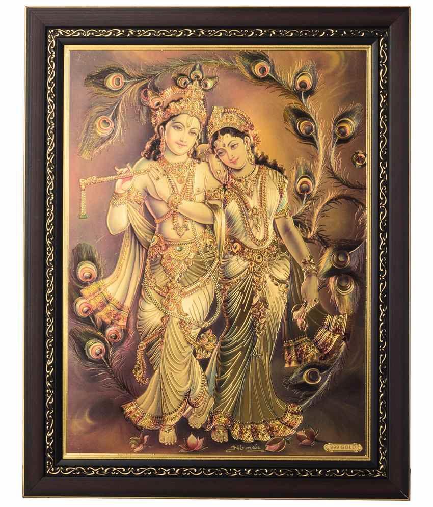 eCraftIndia Amazing Green & Golden Radha Krishna Framed Laminated Foil Painting