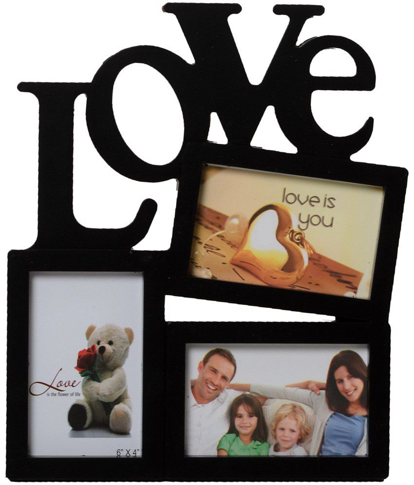 ecraftindia black 3 photo love collage photo frame buy ecraftindia black 3 photo love collage. Black Bedroom Furniture Sets. Home Design Ideas