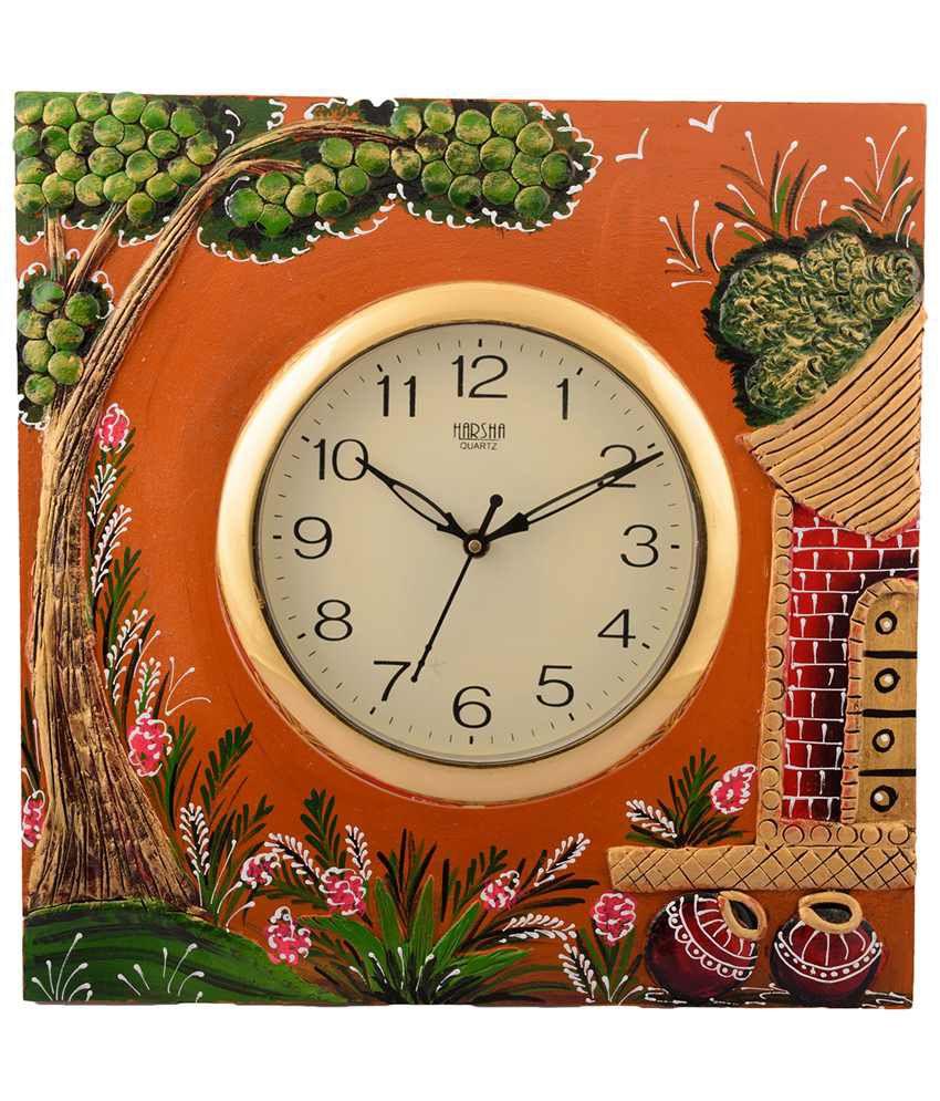 eCraftIndia Green & Blue Wooden Papier Mache Garden View Wall Clock