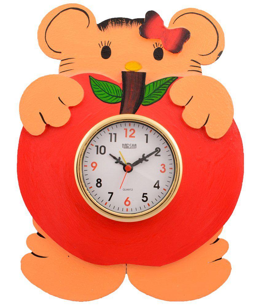 eCraftIndia Multicoloured Wooden Papier Mache Kids Wall Clock