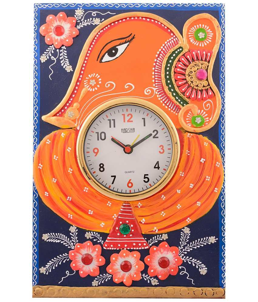 eCraftIndia Orange & Blue Wooden Papier Mache Lord Ganesha Wall Clock