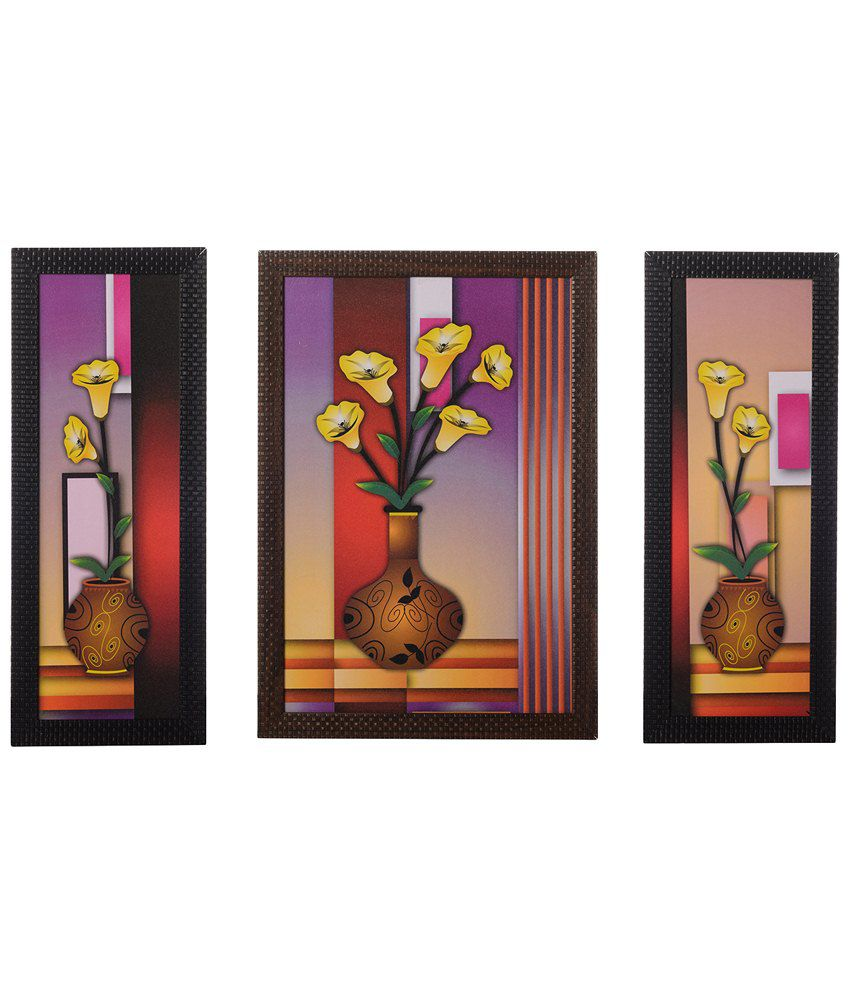 eCraftIndia Pack of 3 Multicoloured Floral Pots Satin Framed UV Art Print Painting