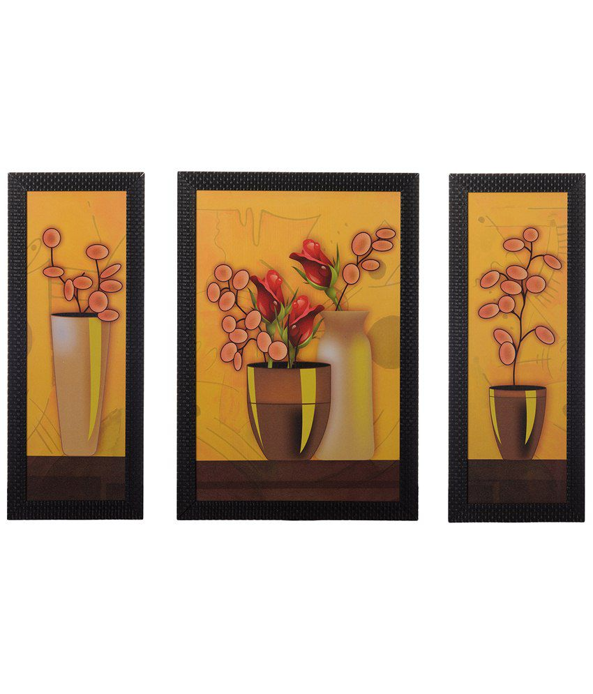 eCraftIndia Pack of 3 Yellow & Brown Floral Pots Satin Framed UV Art Print Paintings